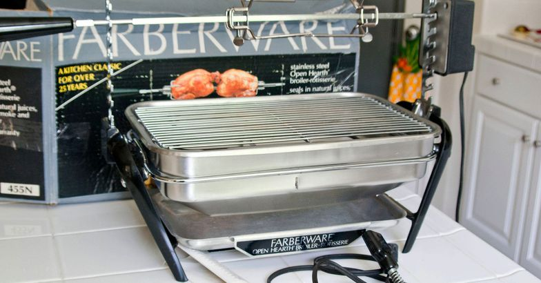 Vintage Farberware Electric Open Hearth Indoor Grill and Chicken Rotisserie