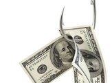 dollar bills on a fishing hook