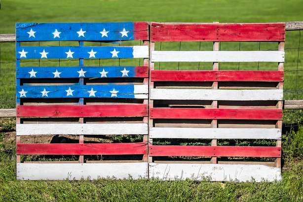 wooden pallets repurposed and painted with the American flag