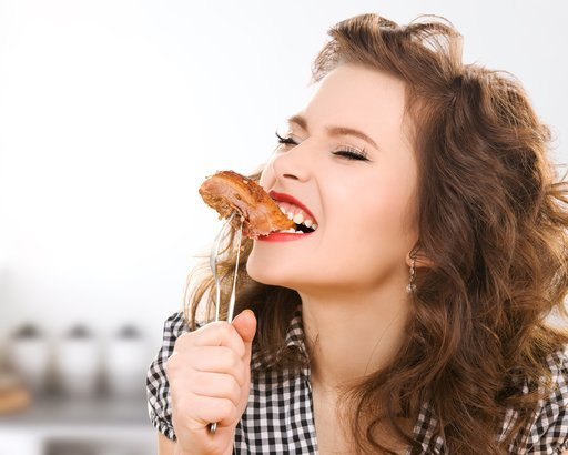 woman eating food