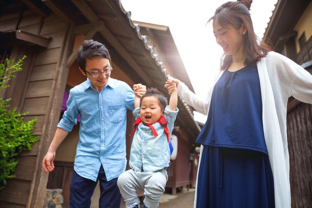 happy Japanese family in Kyoto