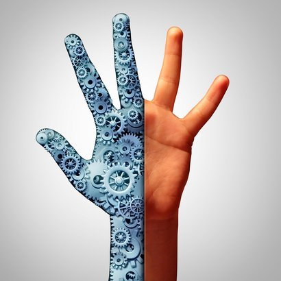 half of man's hand is a machine while other half is normal