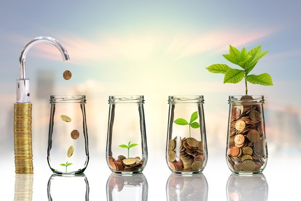 faucet putting gold coins and seed in clear bottle with three investment bottles growing plant