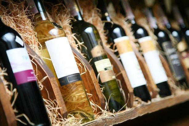 wines on a wineshelf