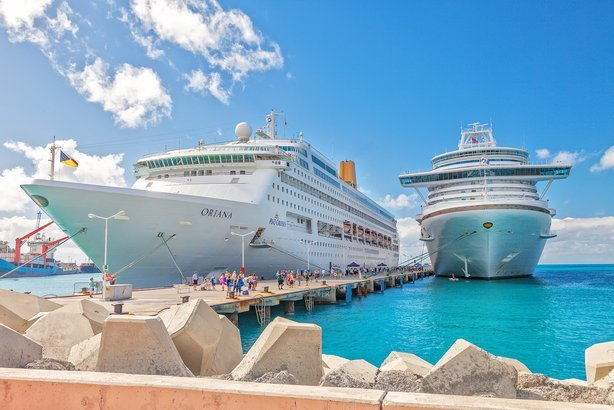 cruise ships docked at pier on the Dutch side of St. Maarten