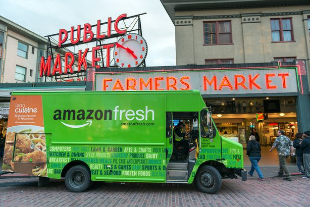 Amazon Fresh in front of the famous Pike Place Market, Seattle