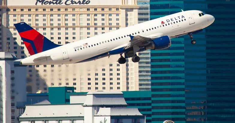 Delta Air Lines taking off from McCarran Airport in Las Vegas
