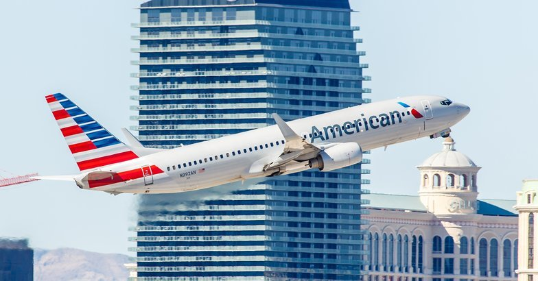 American Airlines taking off from McCarran Airport in Las Vegas
