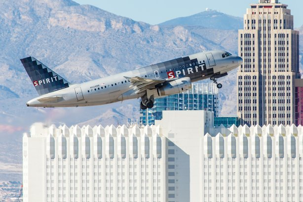 Spirit Airlines taking off from McCarran Airport in Las Vegas