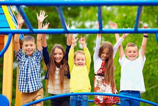 Happy kids having fun on a playground