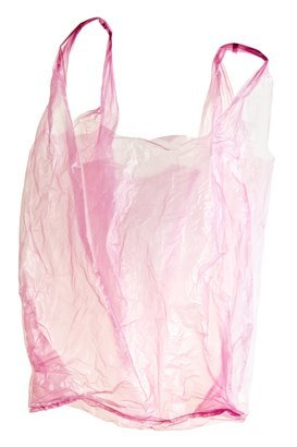 pink, transparent, plastic bag