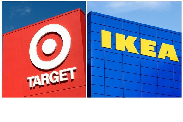 Side-by-side of Target and Ikea store fronts