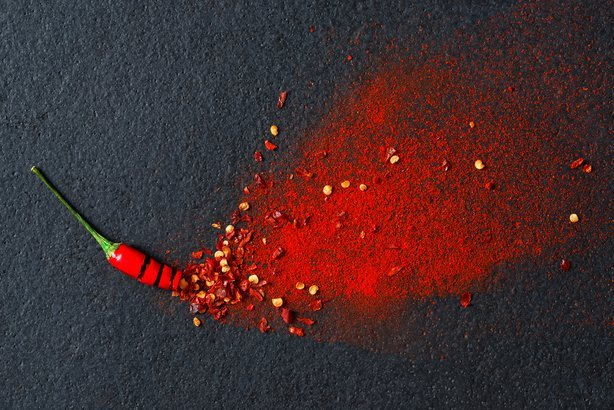 red pepper flakes and chilli powder burst