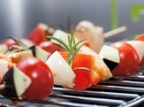 closeup of a tasty vegetarian shashlik