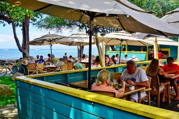 Beau Aloha Mixed Plate, A Popular Beachside Barbecue Restaurant Overlooking The  Beach In Lahaina