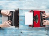 old typewriter and laptop