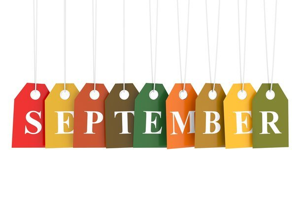 september tag on colored hanging labels