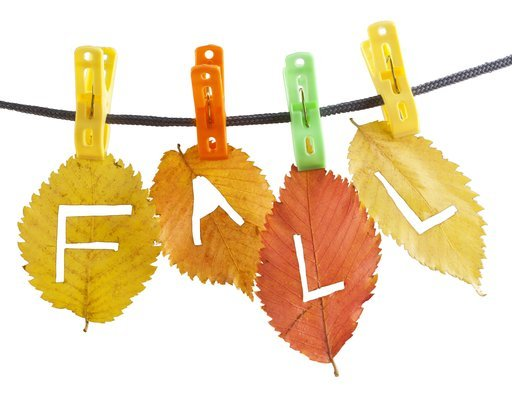 red yellow fall leaves hanged on clothesline with clips carved with a knife letters