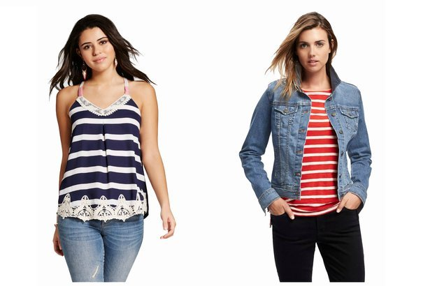Model wearing a navy striped tank top, and a model wearing a denim jacket