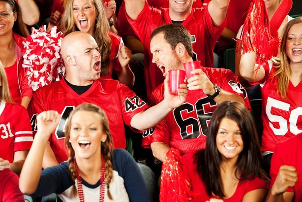 two guy friends toast during football game