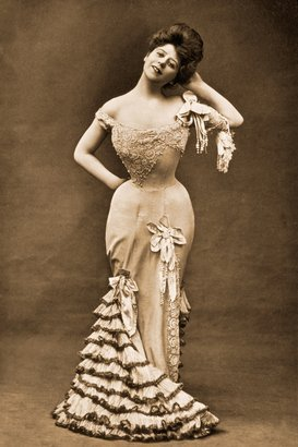 1918 vintage photo of a woman wearing a corset dress