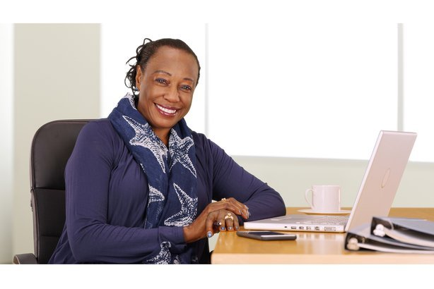 African American businesswoman at her desk