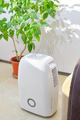 portable dehumidifier in living room
