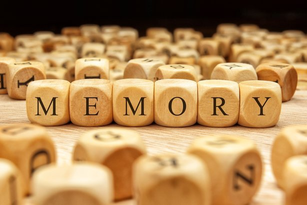 memory word written on wood blocks
