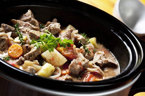 beef stew in a slow-cooker