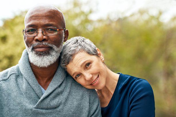 happy multiracial senior couple