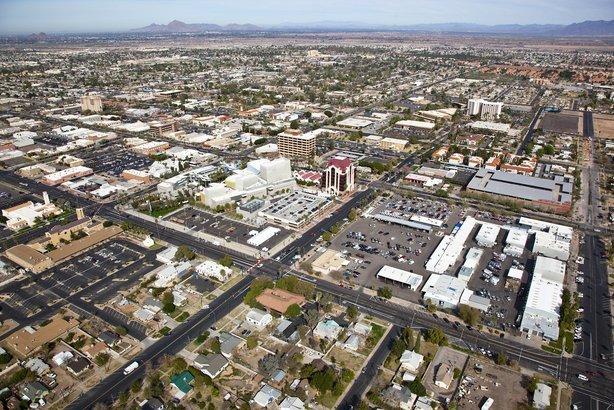 aerial view of downtown Mesa, Arizona