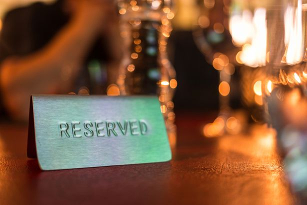 reserved sign in a restaurant