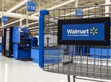 Closeup of shopping cart at Walmart store