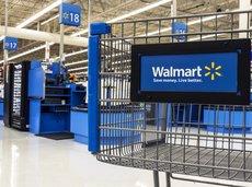 Closeup of shopping cart at Walmart store