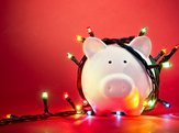 christmas lights on piggy bank