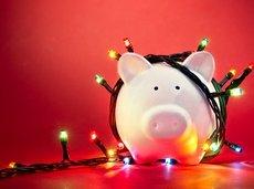christmas lights on piggy bank