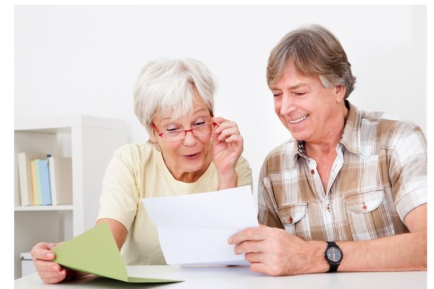 Senior couple looking at important documents