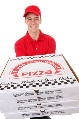 handsome young man delivering pizzas