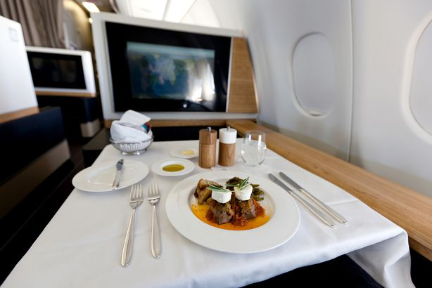 food in first class airplane seat