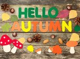 'Hello Autumn' craft sign on wood