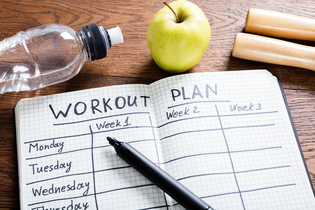Workout plan in a notebook