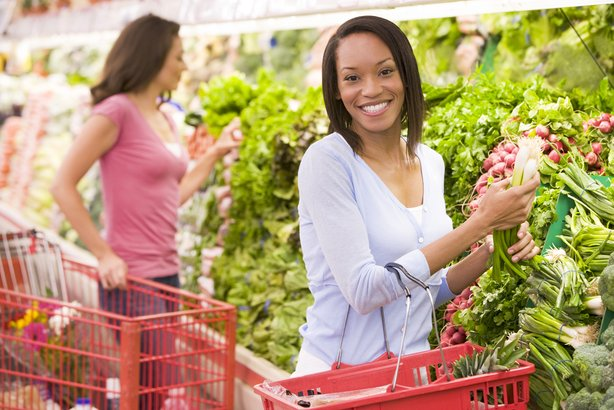 African American woman shopping in the grocery store