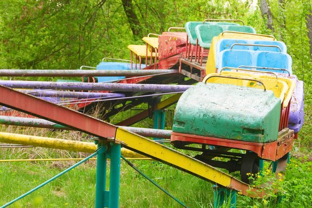abandoned attraction in old decayed amusement park