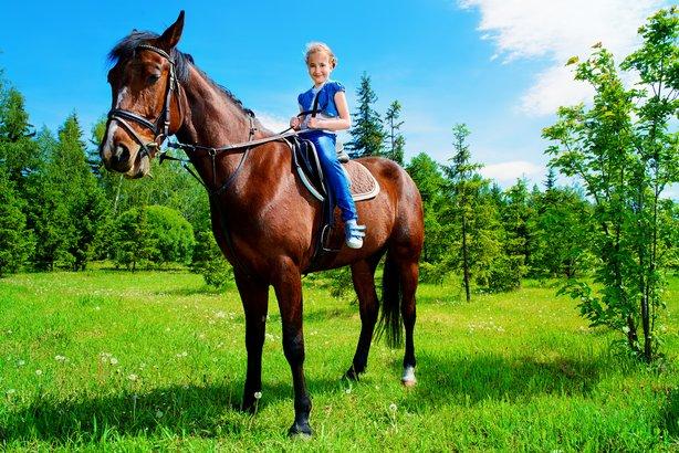 girl horse back riding outside