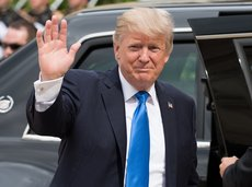 President of United States of America Donald Trump at the Elysee Palace, waving