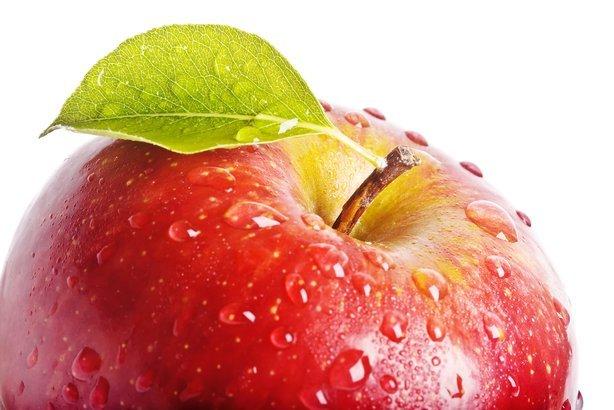 closeup juicy red apple
