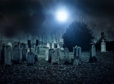 spooky cemetery at night