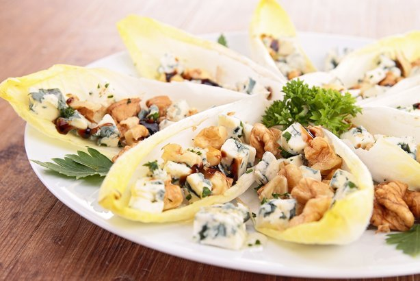 chicory salad with walnut, apple and roquefort