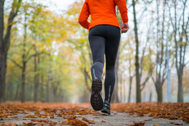 close-up of woman's legs running over fall leaves
