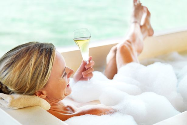 drinking bubbly, bathing in bubbles